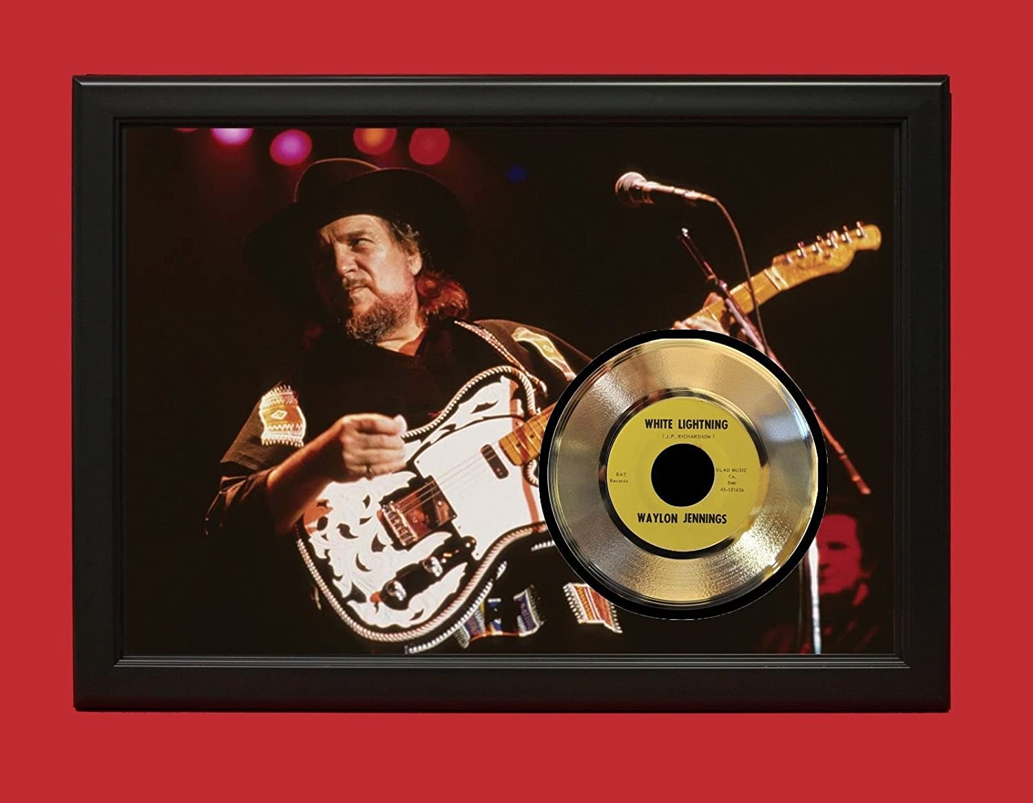 WAYLON JENNINGS POSTER ART WOOD FRAMED GOLD 45 DISPLAY FREE US SHIPPING 'C3'