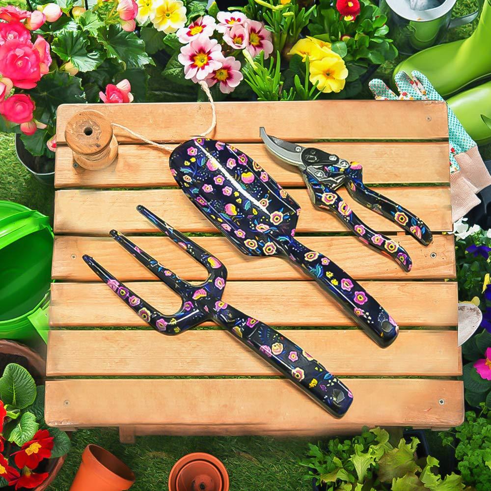LOYLOV Garden Tool Set 3 Piece Floral Aluminum Heavy Duty ...