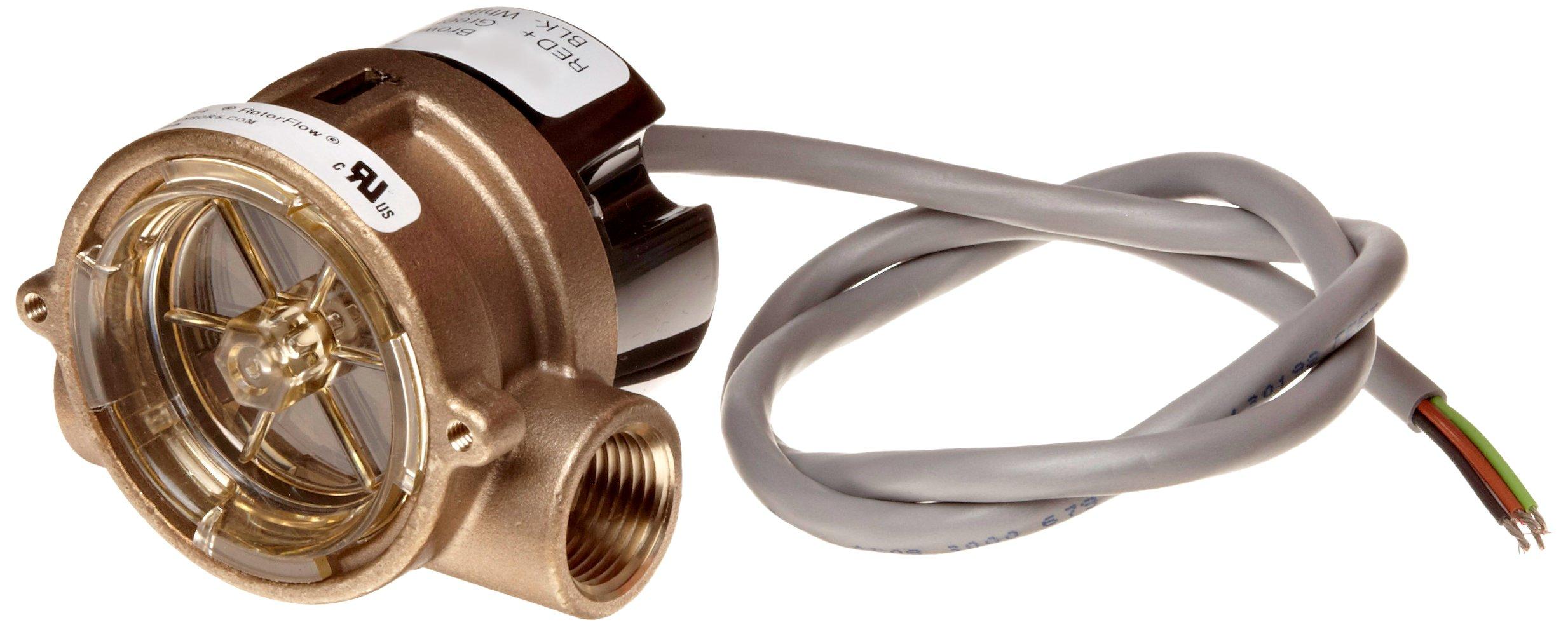 Gems Sensors RFS Series Brass Flow Sensor Switch, Inline, Rotor Type, 24 VDC Input, 1.5 - 20.0 gpm Flow Setting Adjustment Range, 1/2'' NPT Female