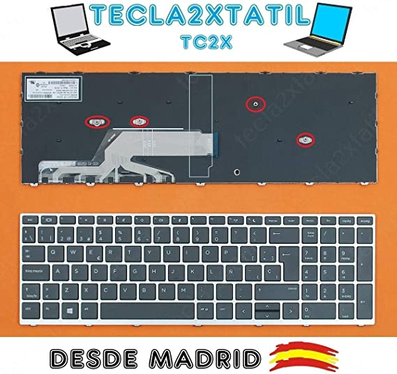 Teclado ESPAÑOL DE Y para PORTATIL HP PROBOOK 450 G5 455 G5 ...