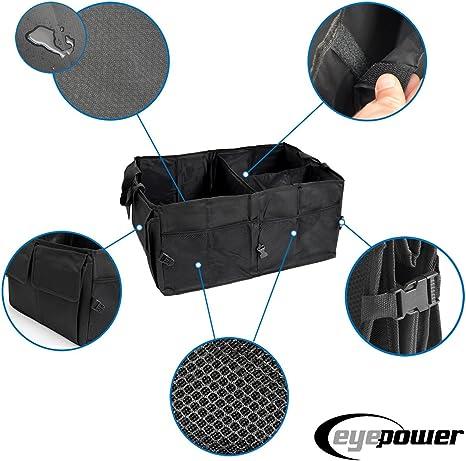 Eyepower Kofferraumtasche Auto Organizer 56x40x24 Cm Autozubehör Tasche Faltbare Kofferraum Aufbewahrungs Box Schwarz Auto