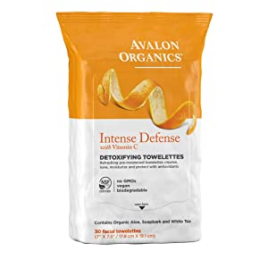 Avalon Organics Intense Defense Detoxifying Facial Towelettes, 30 Count