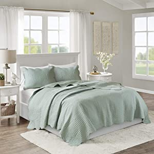 Madison Park Tuscany 3 Piece Reversible Scalloped Edge Coverlet Set, King/Cal King, Seafoam