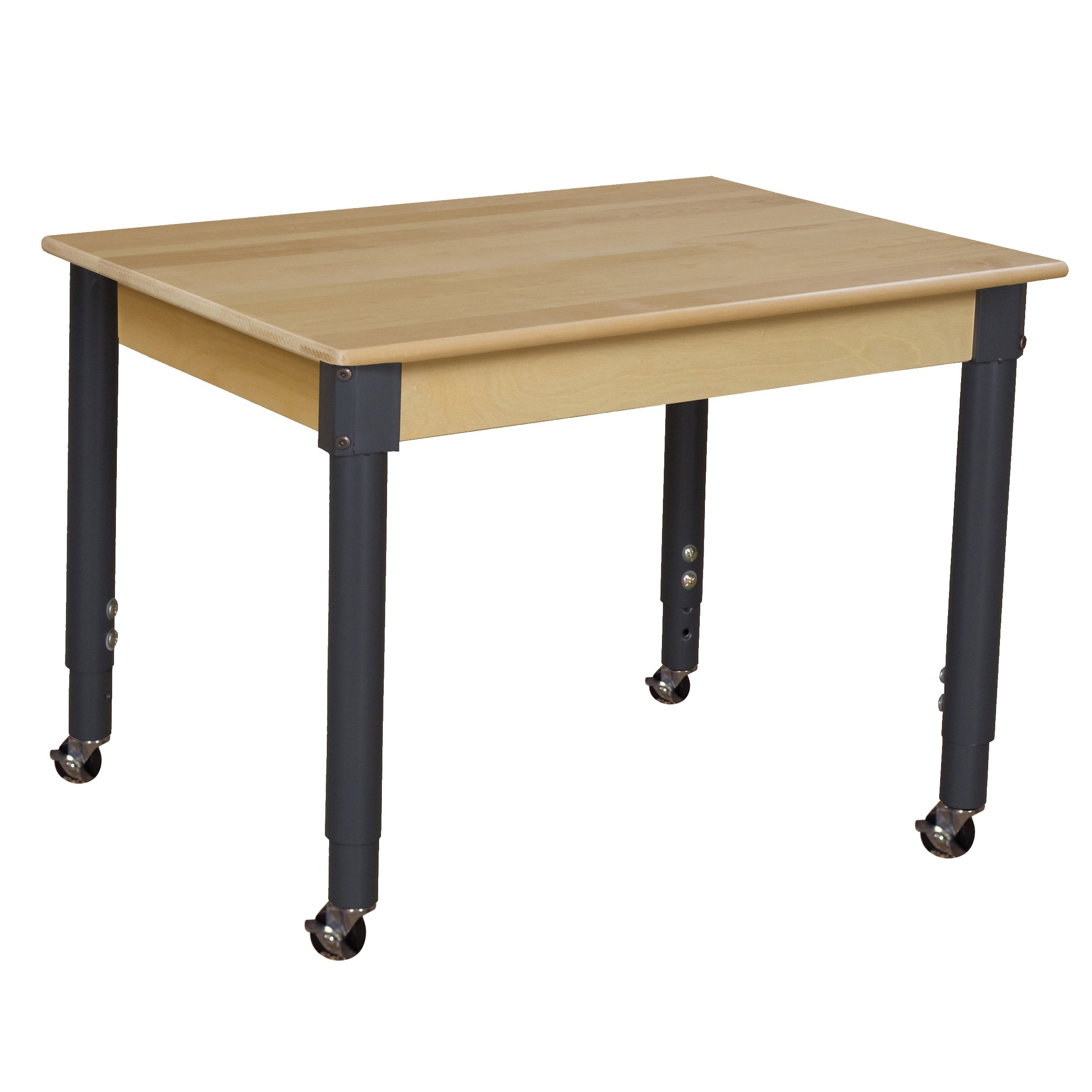 Wood Designs WD823A1829C6 - Mobile 24'' x 36'' Rectangle Hardwood Table with Adjustable Legs 20-31'' by Wood Designs (Image #1)
