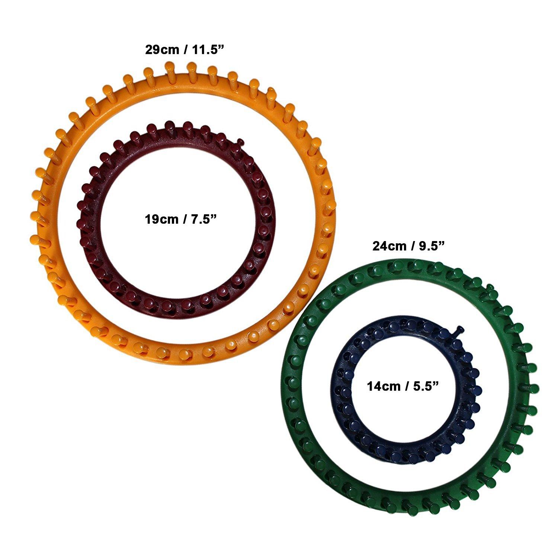 Set 4 Piezas Telar Circular Plástico Fuerte por Curtzy - 4 Tamaños ...