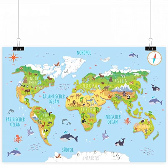 nikima – Niños Mapa del Mundo 3d en 3 tamaños A3/A2/A1 Póster Animales Tierra – cuadro de habitación de los Niños atractivo pared decoración Continentes Animales, carbón, DIN A2 - 594 x