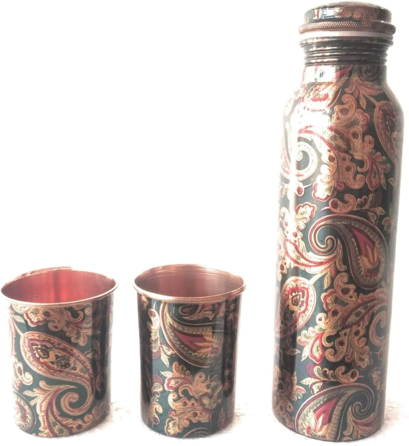 Handmade Pure Copper Glass Cup For Water Tumbler Set Of 2 HOME DECOR BROWN