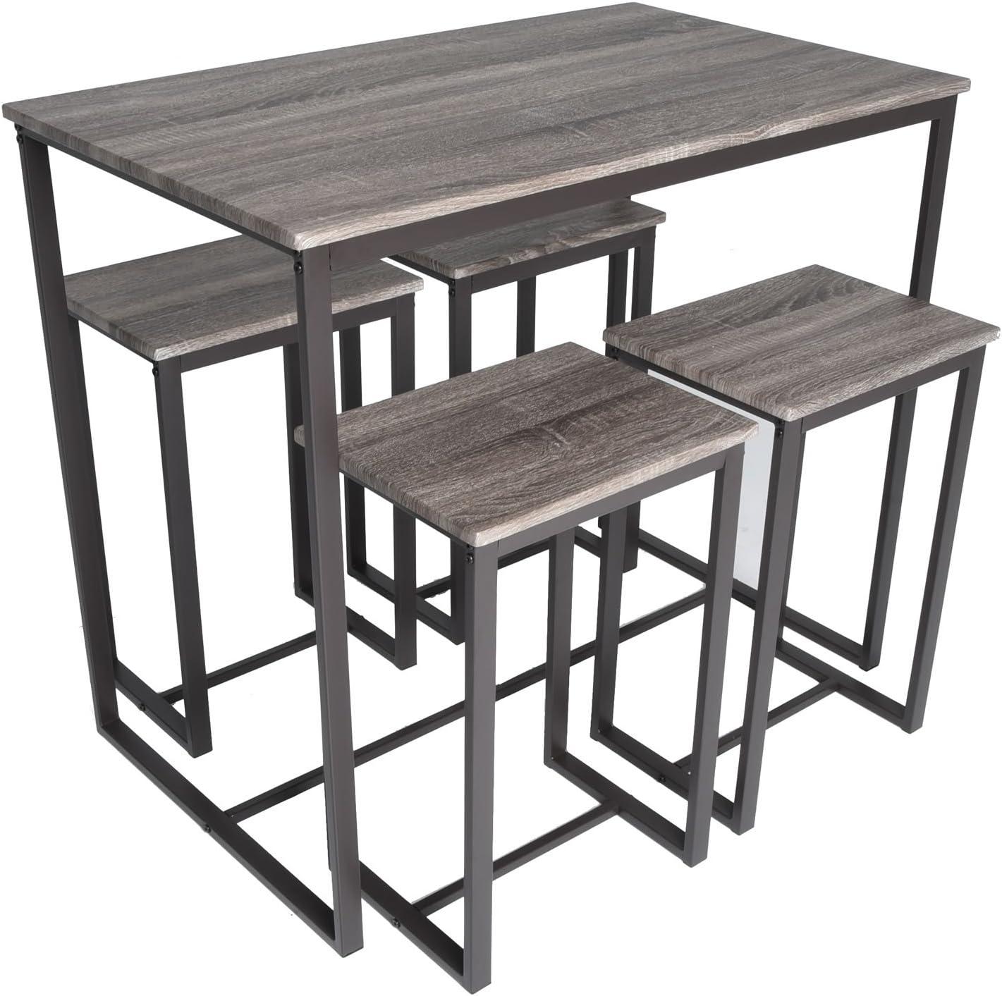 Zenvida 5 Piece Bistro Pub Table Set with 4 Stools