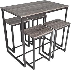 Zenvida 5 Piece Bistro/Pub Table Set with 4 Stools