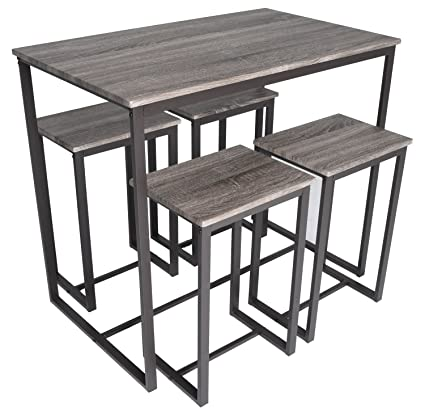 Amazon.com: Zenvida 5 Piece Bistro/Pub Table Set With 4 Stools ...