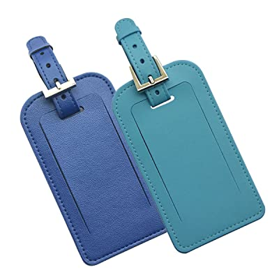 (Blue+Navy Blue) Stylish Microfiber Leather Luggage Tags Business Card Holde,2 Pack