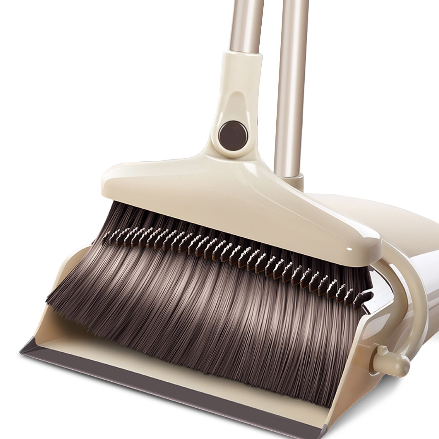 Benchmart Upgraded 180 Rotary Broom and Dustpan Set with Extra Long Handle, Extendable House Sweep with Upright Stand up Dustpan for Home Kitchen Room Office Lobby Floor Cleaning