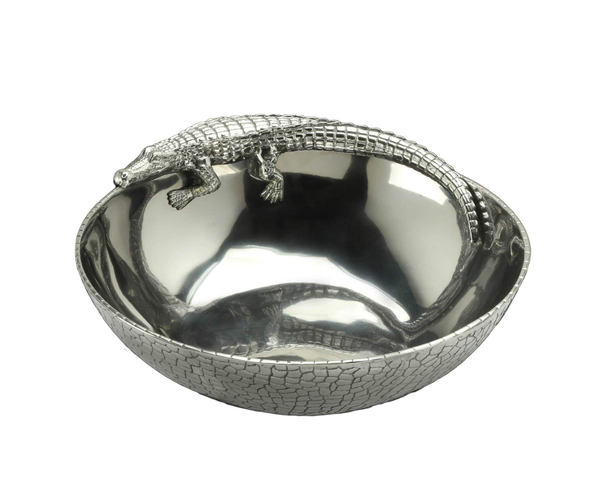 Arthur Court Designs Aluminum Alligator Figural 12'' Bowl