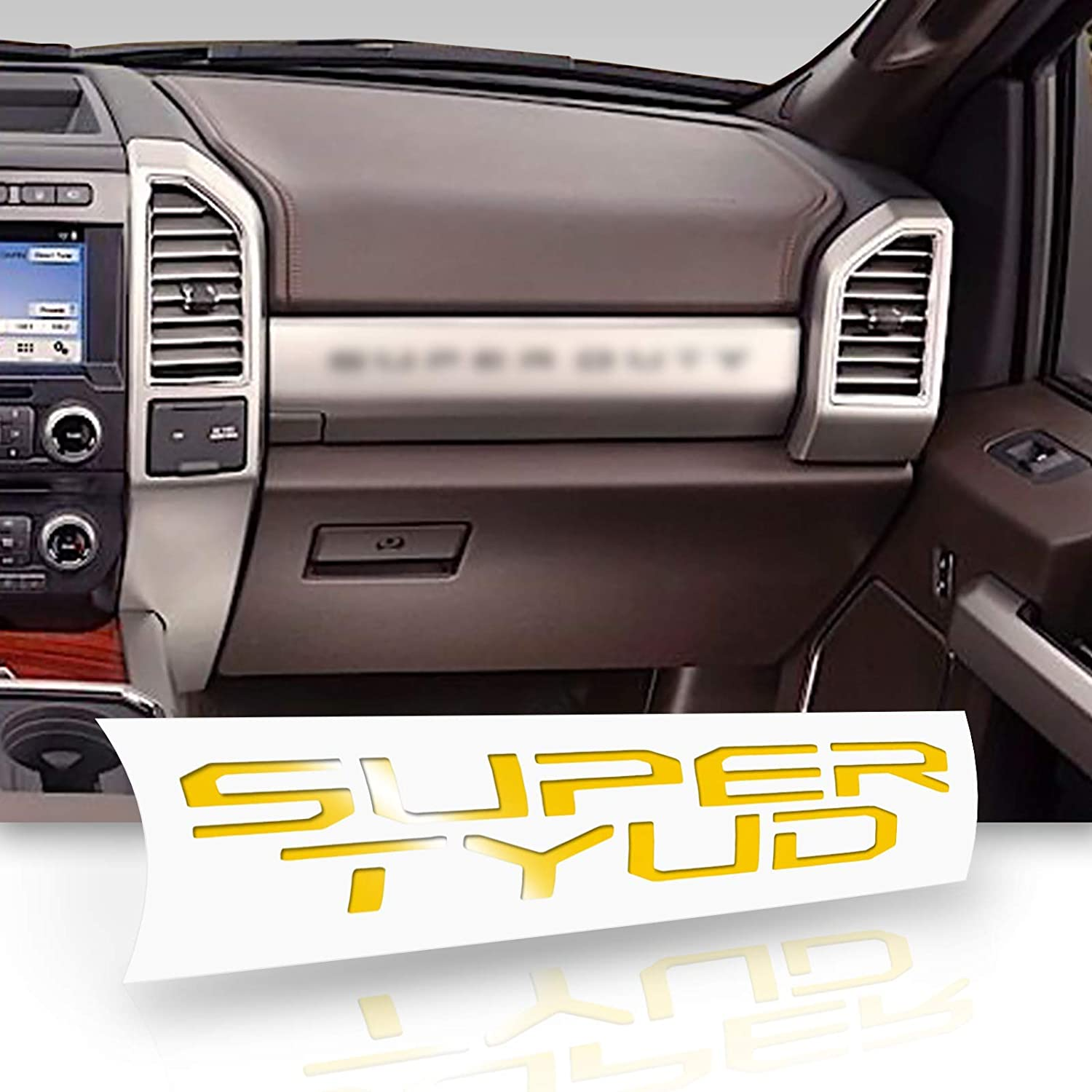 Optix Glovebox Compartment Vinyl Decal Letters Overlay Trim Wrap Inserts Sticker Compatible with and Fits Super Duty 2017 2018 Gloss Black