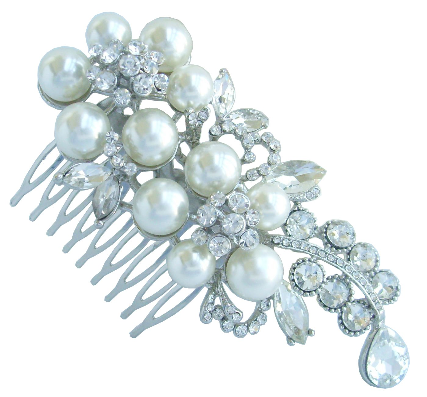 Sindary Trendy Wedding 4.33'' Pearl Rhinestone Crystal Flower Hair Comb Headpiece Tiara Ornament Jewelry