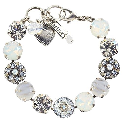 Mariana Silk Guardian Angel Style Tennis Bracelet, Silver Plated, 8 4501 1 1049