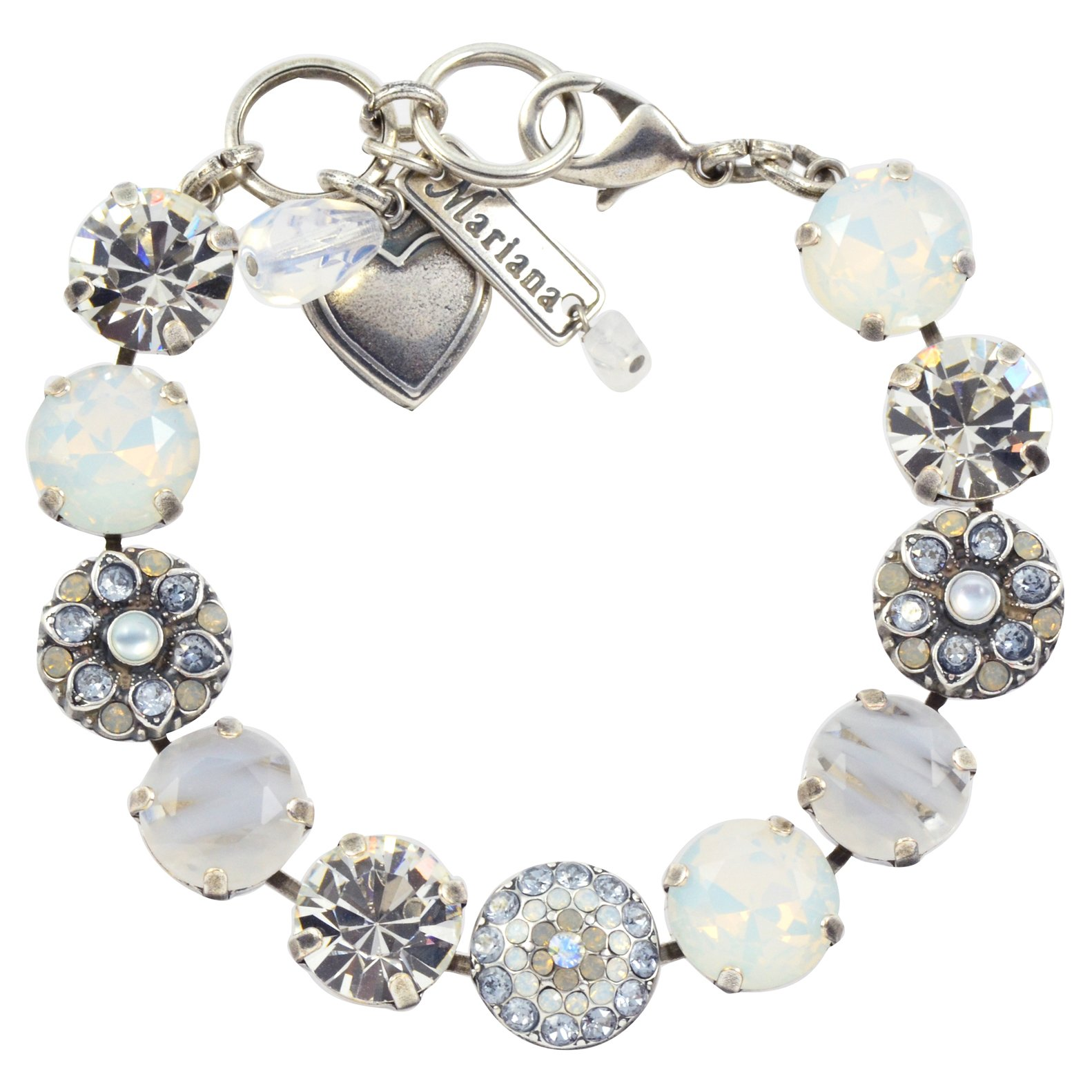 Mariana Silk Guardian Angel Style Tennis Bracelet, Silver Plated, 8'' 4501/1 1049