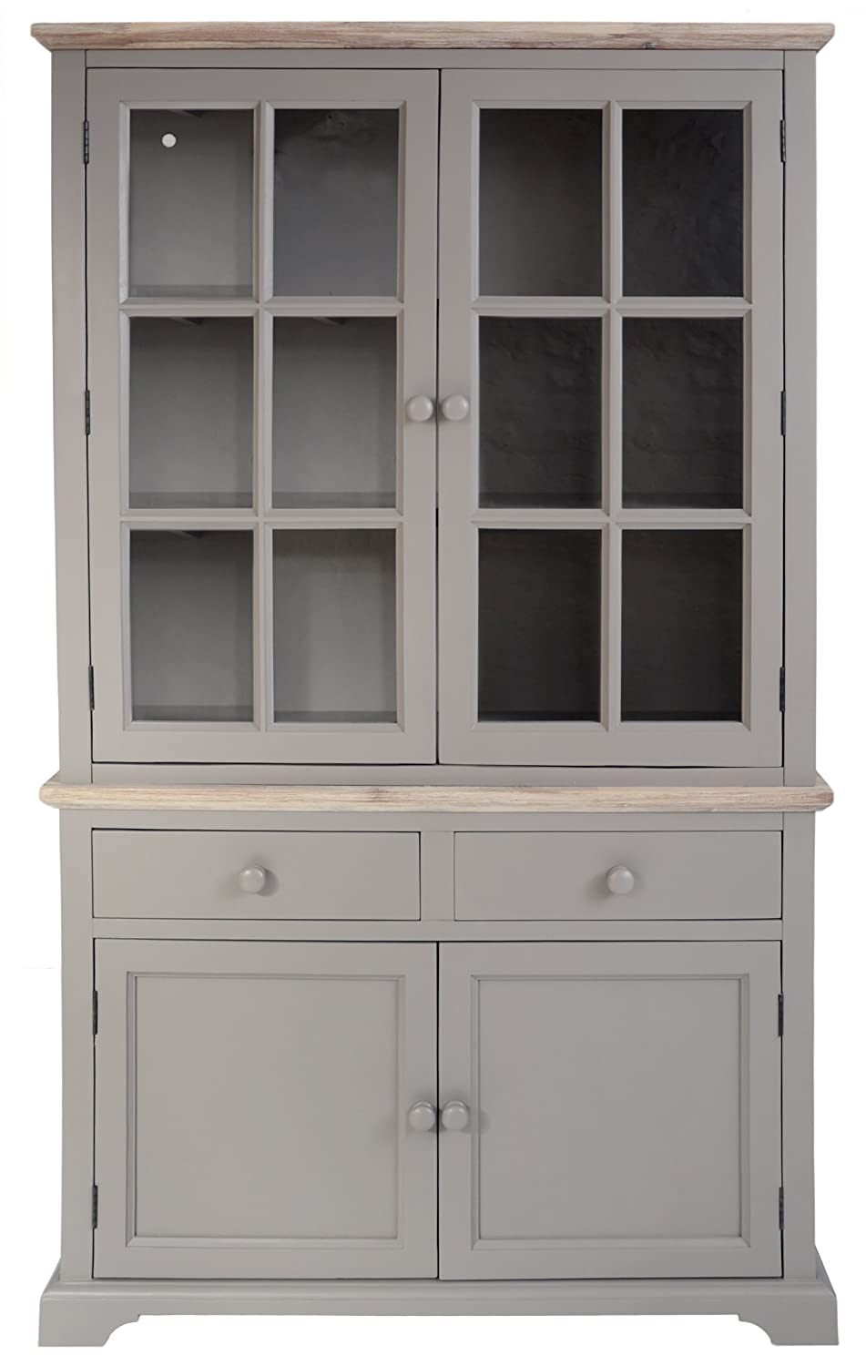 Florence Display Cabinet. Very Solid Dove Grey Glass Dresser With Cupboard,  Drawers And Shelf. ASSEMBLED: Amazon.co.uk: Kitchen U0026 Home