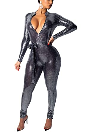 bdc6ae0fc1 Bluewolfsea Women s Sexy One Piece Outfits Glitter Bodycon Jumpsuit Long  Sleeve Zipper V Neck Party Romper