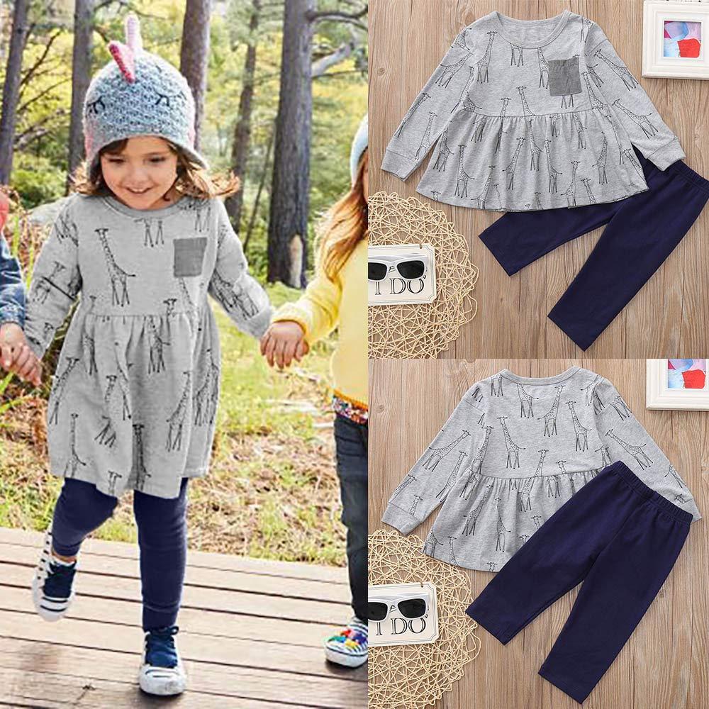 Dream Room Dresses Toddler Infant Kids Baby Girls 2Pcs Long Sleeved Giraffe Print Dress+Pants Set Outfit