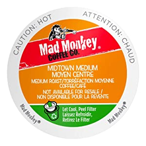 Mad Monkey Single Serve Coffee Capsules, Midtown Medium, 100% Arabica Medium Roast, Compatible with Keurig K-Cup Brewers, 80 Count