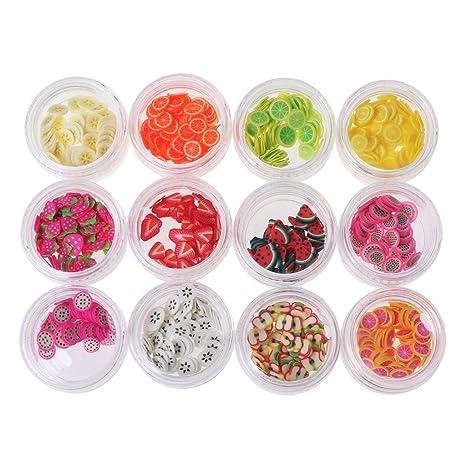 Xuniu 12 Colores/Set rebanadas de Fruta, 12 Tipo/Set rebanadas de Fruta