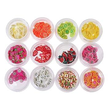 Kofun 12 Colores/Set de rodajas de Frutas, 12 Tipo/Set Frutas Rebanadas Relleno Material de Bricolaje Nails Art Tips Slime Kid Fruta: Amazon.es: Hogar