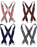 Bundle Monster 4pc Various Design X-Back Adjustable Clip Unisex Suspender