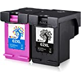 H&BO 2 Pack For HP 62XL High Yield Remanufactured Ink Cartridge (1 Black, 1 Tri-colour) for HP ENVY 5540 5541 5542 5543 5544 5545 5546 5547 5548 5544 5545 5549 5640 5642 5643 5644 5646 5660 5661 5663 5664 5665 7640 7644 7645 8000 8005 OfficeJet 200 200c 250 250c 5740 5741 5742 5743 5744 5745 5746 8040 8045 Printers