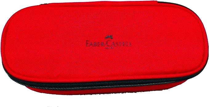 Estuche ovalado Faber Castell rojo baúl con cremallera portabolígrafos: Amazon.es: Oficina y papelería