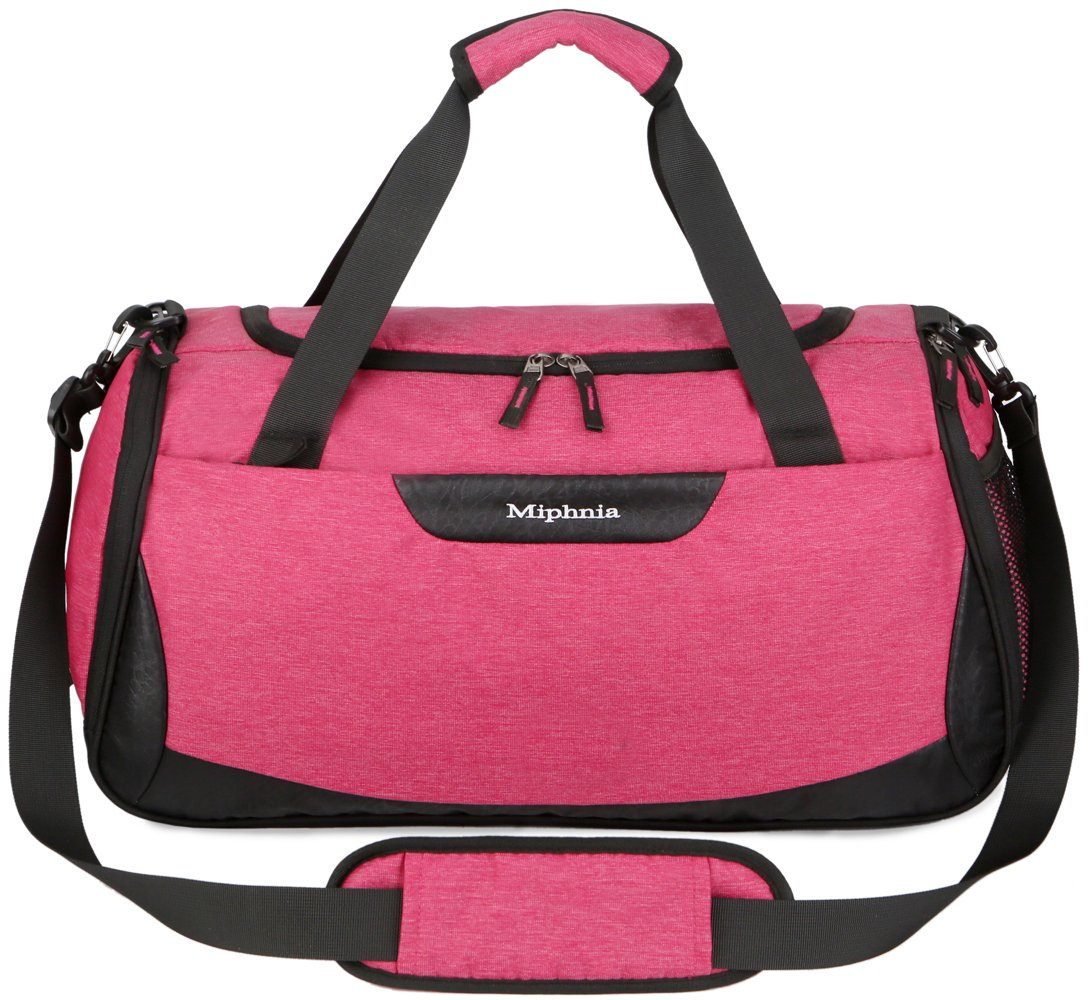 Miphnia Sports Gym Bag 20'' Travel Duffel Bag with Shoes Compartment for Women and Men (Dark Pink)