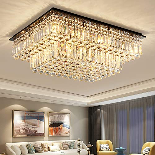 Moooni Modern Rectangular Crystal Chandelier Lighting Raindrop Flush Mount Ceiling Light Fixture for Dining Rooms Living Rooms Hotel Large Rectangle Chandelier L40 x W31.5 x H14