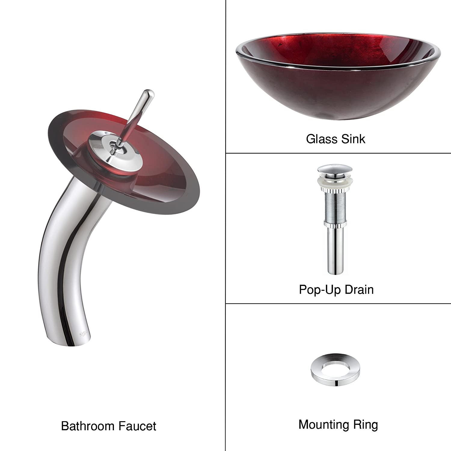 Kraus C GV 200 12mm 10CH Irruption Red Glass Vessel Sink And Waterfall  Faucet Chrome     Amazon.com