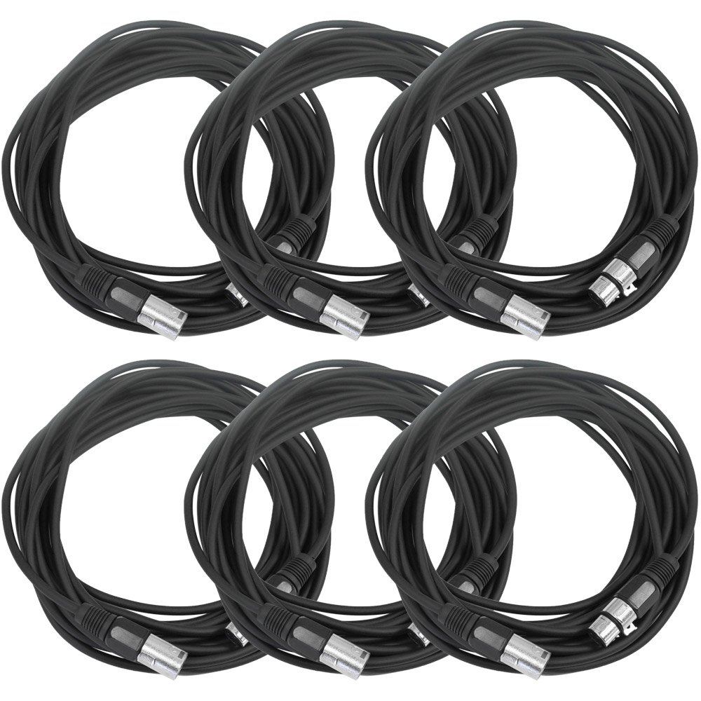 SEISMIC AUDIO - SAXLX-25-6 Pack of 25' Black XLR Male to XLR Female Microphone Cables - Balanced - 25 Foot Patch Cords