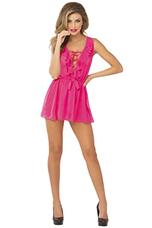 2589b1cc5e87 Seven  til Midnight Sexy Dreamy Babydoll Lingerie Set (Pink)  Amazon ...