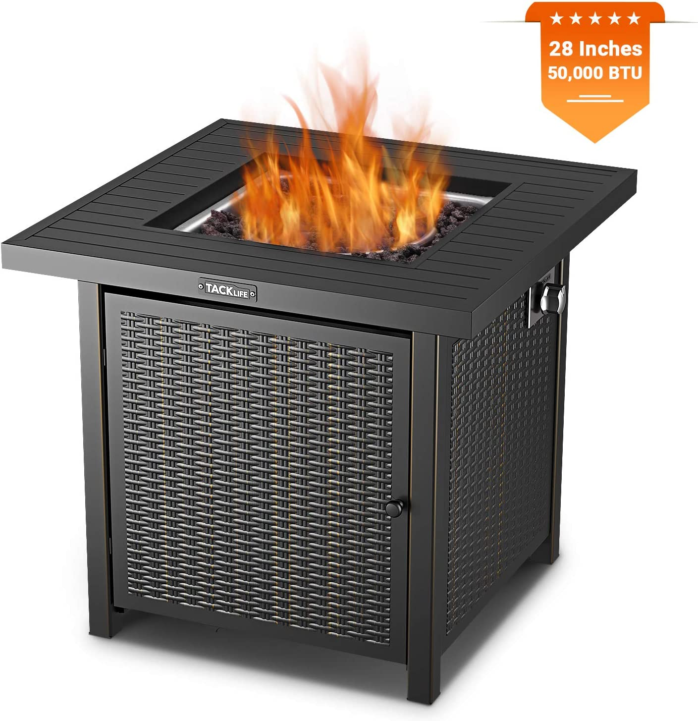 TACKLIFE Fire Pit Table, 28 Inch CSA Certified Winter Outdoor Propane Gas Fire Pit Table 50,000 BTU Auto-Lgnition Fire Table with Cover and Lava Stone for Garden, Courtyard, Terrace, Balcony, Black