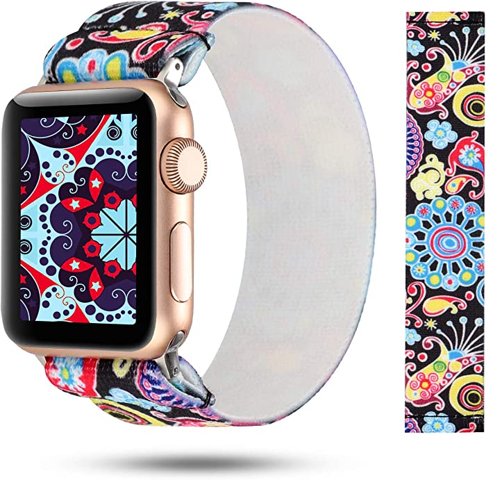 YOSWAN Stretchy Loop Strap Compatible for Apple Watch Band 40mm 38mm 44mm 42mm iWatch Series 6/5/4/3/2/1 Stretch Elastics Wristbelt (Colorful Jellyfish, 38mm/40mm)