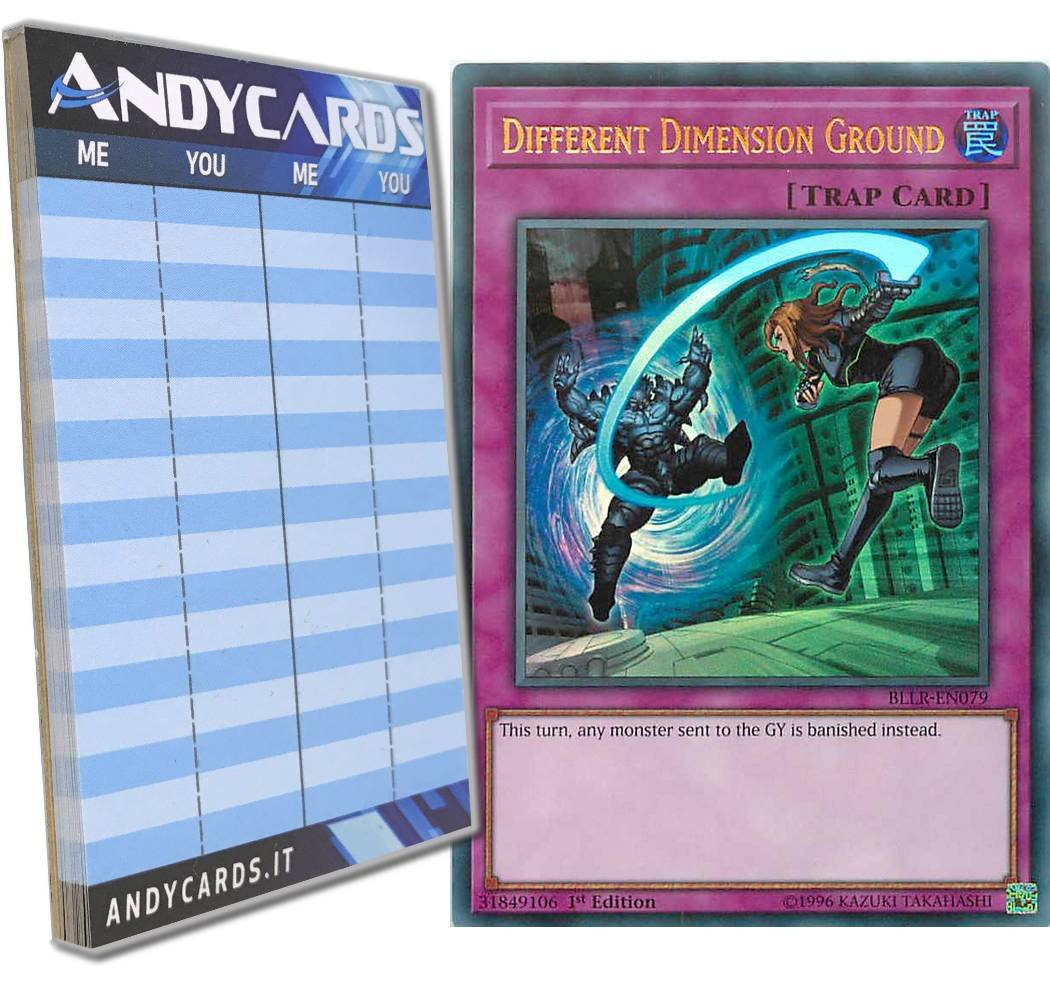 Yu-Gi-Oh! - DIFFERENT DIMENSION GROUND - Ultra Rare BLLR-EN079 in ENGLISH + Andycards Scorepad