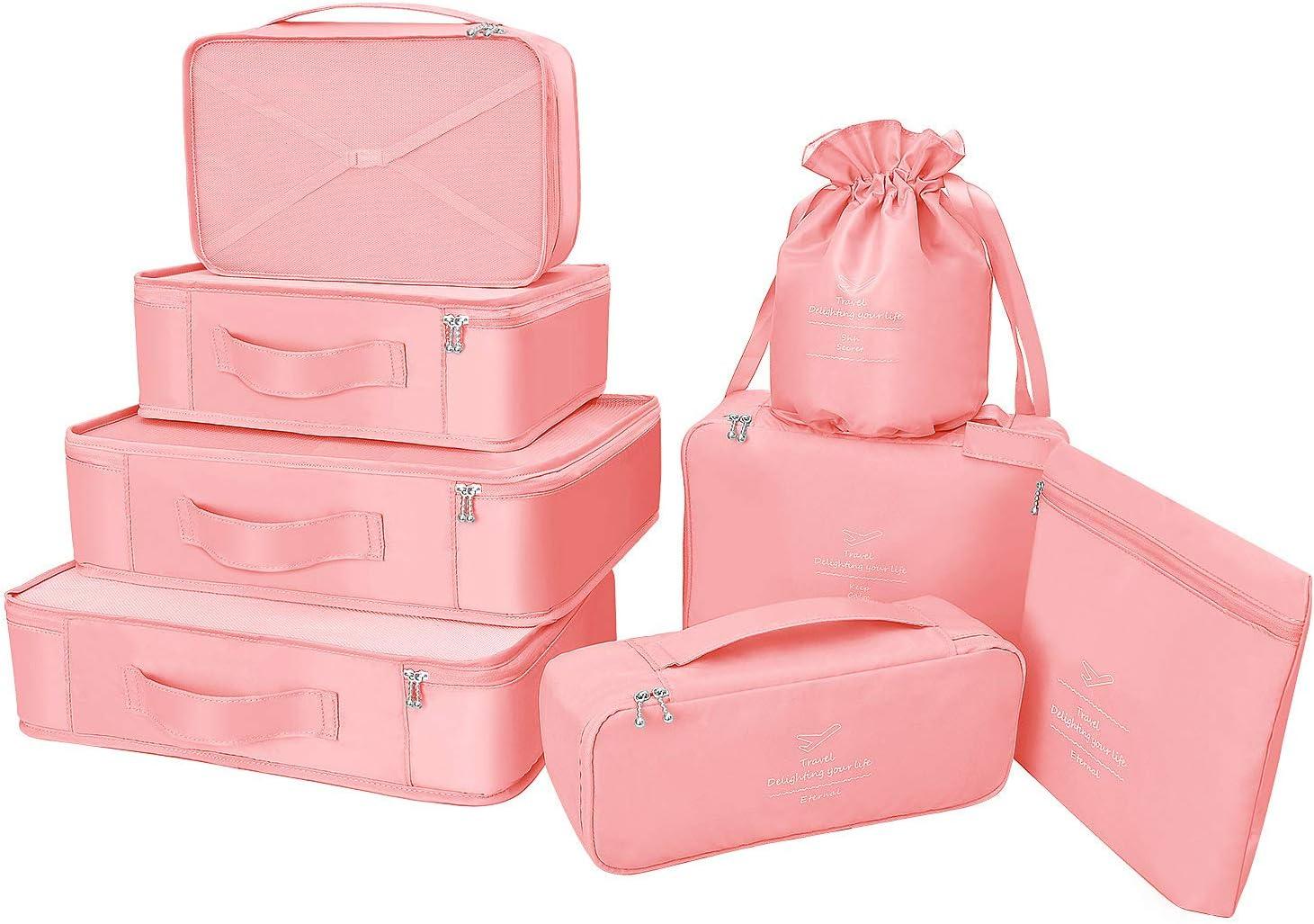 Organizador para Maletas Packing Cubes 8 Juegos/7 Colores ¨²ltimo Dise?o Incluyen Bolsa de Almacenamiento de Zapatos Impermeable Conveniente Bolsas de Compresi¨®n para el Viajero