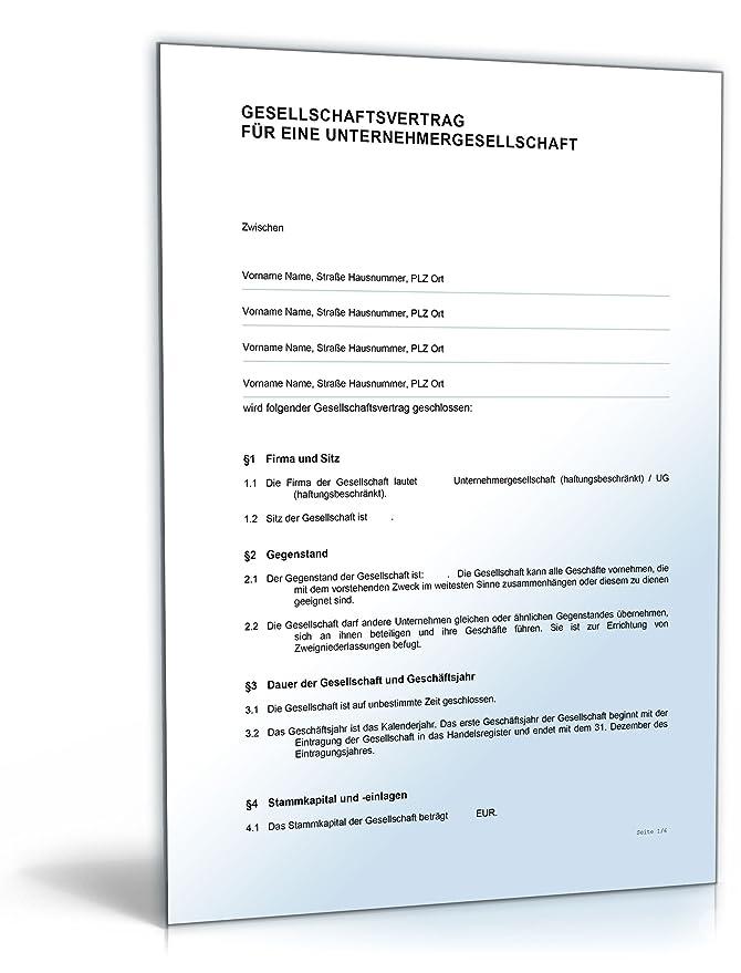Gesellschaftsvertrag Ug Word Dokument Amazonde Software