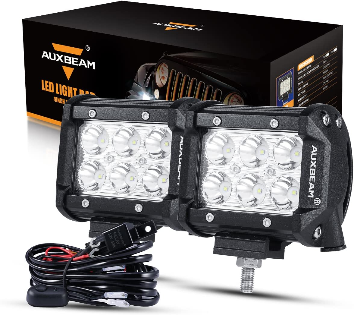 Auxbeam LED Light Bar 4 inch 18W LED Pods 1800lm Spot Beam Driving light Offroad lights with Wiring Harness (Pack of 2)