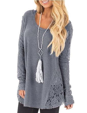 66a2032e5b429e Helury Strick Shirt Spitze Pullover Sweater Damen Langarm T-Shirt Einfarbig  Knit Lang Lace Bluse