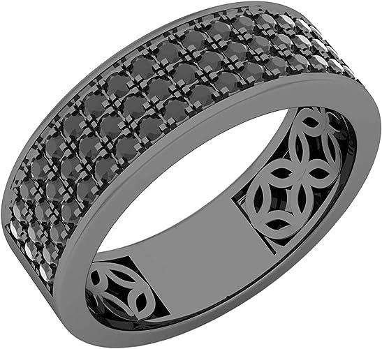 Sterling Silver W//Rhodium-plated Black Diamond Mens Ring