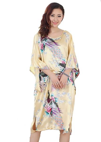 27eeba3654eb ACVIP Women s Kimono Robe Lounge Pajama Peacock Yukata Dress Yellow ...