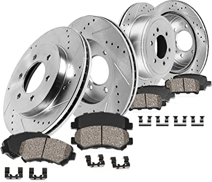 Fit Nissan Frontier Xterra Rear Black Drill Slot Brake Rotors+Ceramic Brake Pad