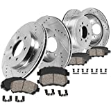 Callahan CDS02409 FRONT 350mm + REAR 348mm D/S 6 Lug [4] Rotors + Ceramic Brake Pads + Clips [ fits 2012 2013 2014 2015 2016