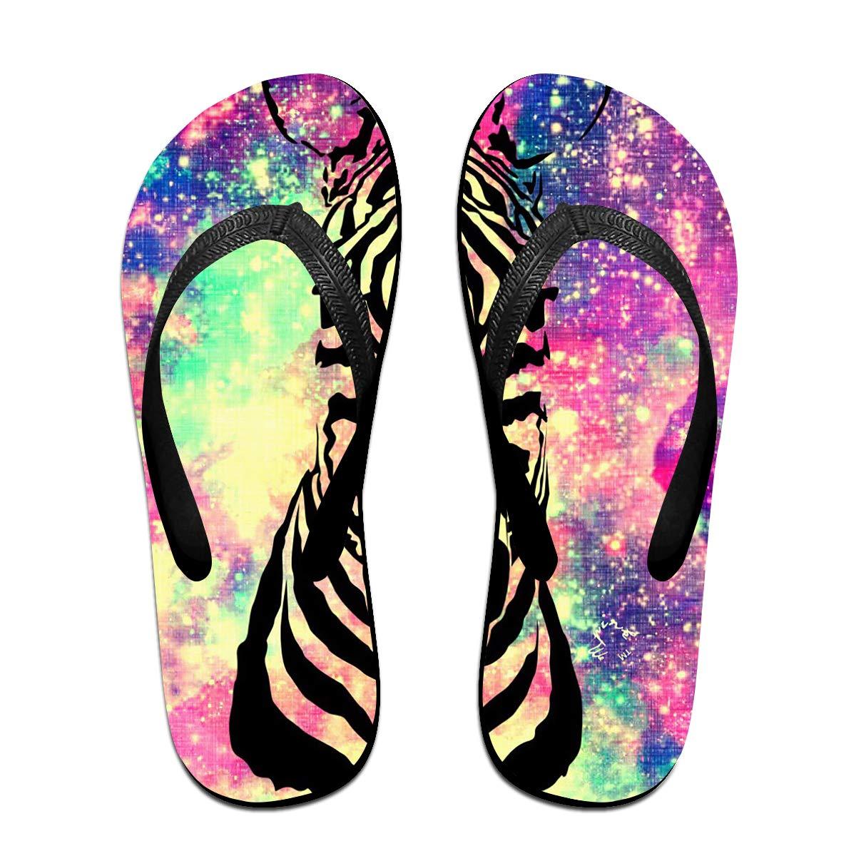 3961c6bbdf32a Amazon.com  Couple Slipper Zebra Universe Print Flip Flops Unisex Chic  Sandals Rubber Non-Slip Spa Thong Slippers  Clothing