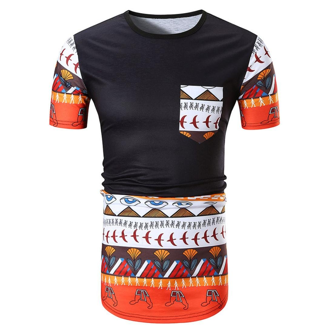 Allywit Men Print O Neck Pullover Casual Short Sleeve T-Shirt Top Blouse