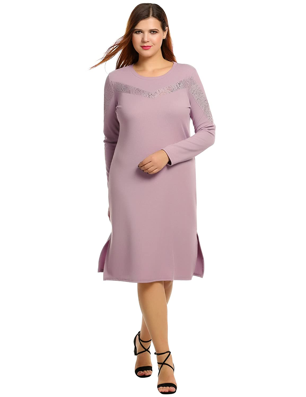 Meaneor Women Plus Size Long Sleeve Crew Neck Midi Casual Dress X-4XL **MAH006568