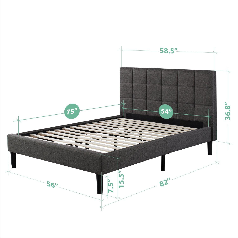 zinus upholstered square stitched platform bed with wooden slats full furniture beds. Black Bedroom Furniture Sets. Home Design Ideas